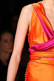 draped color blocking in rich satins - tangerine & fuschia