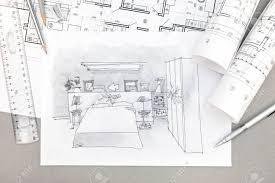 机の上のツールや青写真を描くと寝室のインテリアの手描きイラスト