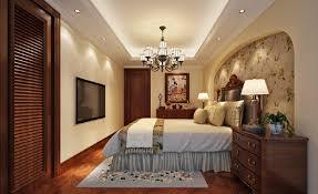 Mediterranean Style Bedroom TV And Lighting