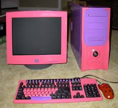 pink and purple shiny computer