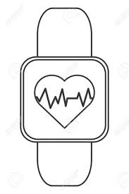 Simple Flat Design Heart Rate Monitor Wrist Band Icon Vector