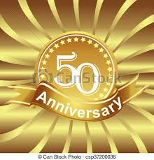 Anniversary Ribbon 50th Anniversary Ribbon Logo With Golden Rays Of Light Birthday