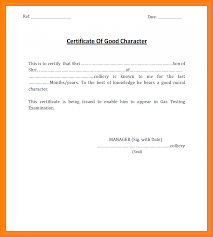 Template For Sample Of Certificate Good Moral Character Copy Doc Fresh