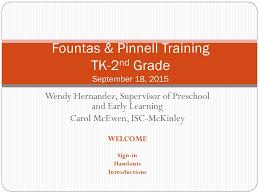 Fountas Pinnell Training Tk 2nd Grade September 18 Ppt