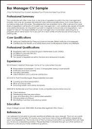 Manager Responsibilities Resume Bar Manager Cv Sample Myperfectcv