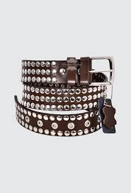 men s brown leather studded belts full grain leather 40mm width casual and party 625