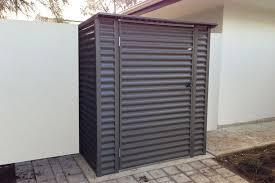 horizontal corrugated skillion shed woodland grey