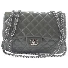 Chanel Quilted Patent Leather Classic Jumbo Chain Shoulder Bag ... & Chanel Quilted Patent Leather Classic Jumbo Chain Shoulder Bag Grey For Sale Adamdwight.com