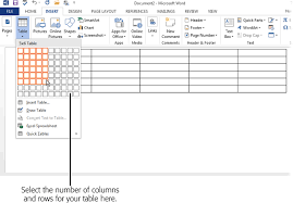 as you create your table word displays a live preview of how the table will