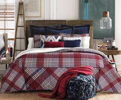 details about tommy hilfiger buckaroo plaid king duvet cover set w shams navy blue red