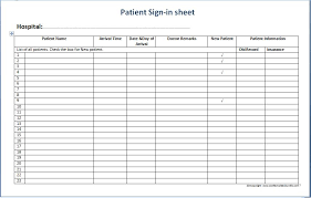 Printable Sign Up Sheet Template Free Patient Sign In Sheet Templates Printable Medical Forms