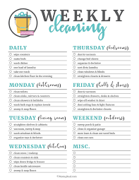 Weekly Cleaning Checklist Under Fontanacountryinn Com