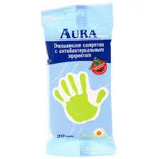<b>Влажные салфетки</b> Aura <b>антибактериальные</b>, 20 шт   Магнит ...