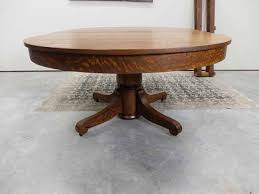 b s tables 48 round mission oak pedestal dining table