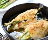 bacon wrapped chicken and asparagus