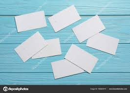 Blank Business Cards On Color Wooden Background Stock Photo
