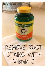 How To Clean Rust Stains No Minimalist Here Remove Rust Stains With Vitamin C