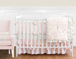 blush pink gold and white amelia baby bedding 9pc girls crib set by sweet