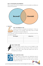 Compare And Contrast Beowulf And Grendel Venn Diagram G9 English Lesson Exemplar 1st Quarter