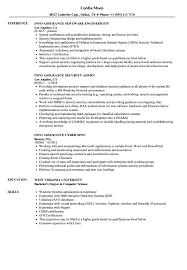 Computer Information Systems Resume Sample Info Assurance Resume Samples Velvet Jobs 13