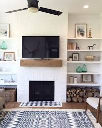 Shelving Ideas For Living Room Gorgeous I Love This Super Simple Fireplace Mantle And Shelves Combo Do You