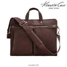 details about kenneth cole new york colombian leather slim portfolio business laptop bag