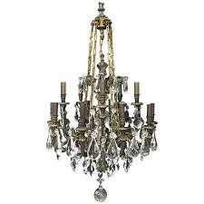 antique signed baccarat bronze and crystal chandelier for