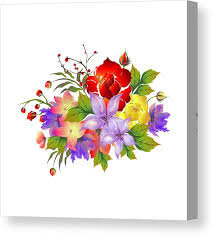 Beautiful Watercolor Flowers Decorated Background Can Be Used As Greeting Card Or Invitation Card Design Canvas Print