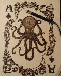 Finished this lovely octopus playing card today #artist #pyrographer #wood  #woodcraft #instaart #instadaily #woodburning … | Pyrography patterns, Art,  Dragon crafts