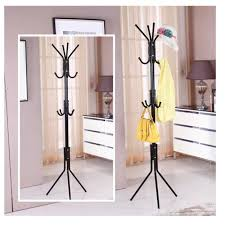 12 hook hanging pole rack clothes hanger coat stand storage