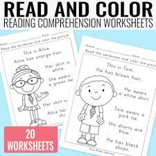 read and color reading prehension worksheets for grade 1