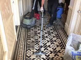 cleaning victorian hallway floor tiles in woodford green
