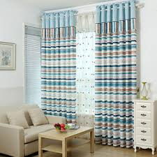 Mediterranean Blue and Coffee Horizontal Striped Curtains Bedroom Curtains