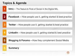 social media presentation topic  slide  1 topics agenda 1 2 3 4 5 facebook how people use