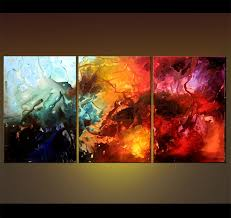 Canvas abstract artwork Vvvart Abstract Painting 4104 The Valley Of Thunder Osnat Fine Art Painting For Sale Large Canvas Triptych Abstract Art 4104