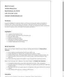 Resume Templates: Digital Print Operator