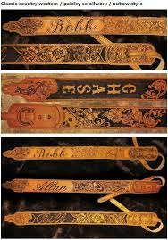 custom made personalized leather guitar strap with name and artwork in brown
