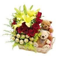 send birthday gifts to bangalore bellandur basket of 2 lily 12 roses 16 ferrero rocher