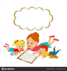 mother daughter and son are reading book stock vector