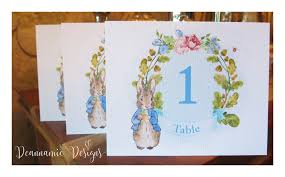 Peter Rabbit Design Peter Rabbit Table Numbers For Christening Or Birthdays
