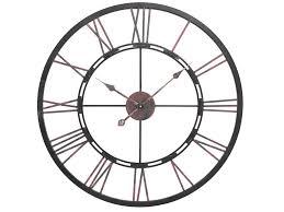 large skeletal roman numerals metal wall clock