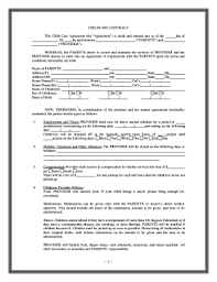 Daycare Contract Template Free Printable Daycare Contracts Fill Online Printable