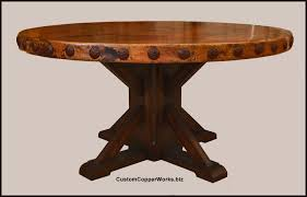 architecture chic design round copper top dining table rustic wood base concha adornment 1 34 round