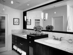 black white bathroom decor black stained wooden wall mounted case rectangle shape white soaking bathtub white