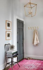 charcoal gray door with pink overdyed rug
