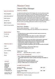 Resume For Office Manager Position Dental Office Manager Resume Example Sample Template Dentist