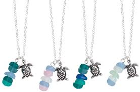 in line sea glass with sea turtle pendant necklace assorted
