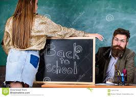 Chalkboard Background Teacher Strict Sit Table Chalkboard Background Student In Mini