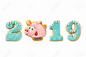 Gingerbread Caption 2019 Made Of Symbol Of New Year Pink Pig