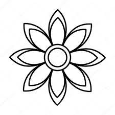 美しい花のかわいいモノクロ アイコン ストックベクター Yupiramos